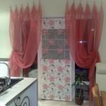 шторы для кухни - розовые цветы - 4
