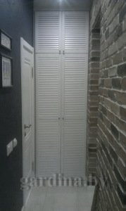 белый шкаф с жалюзийными дверцами